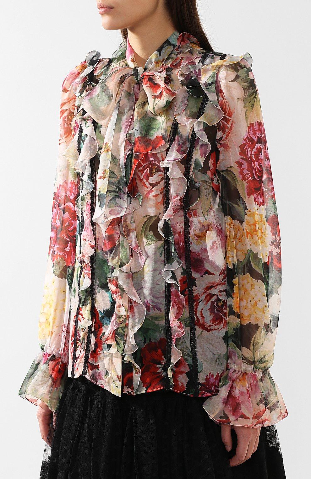 Блузка из смеси шелка и хлопка Dolce & Gabbana разноцветная | Фото №3