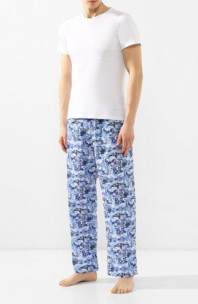 Мужские хлопковые домашние брюки DEREK ROSE голубого цвета, арт. 3564-LEDB019   Фото 2
