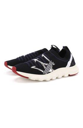 Мужские текстильные кроссовки Z ZEGNA темно-синего цвета, арт. A4104X-STE | Фото 1