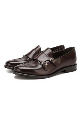 Мужские кожаные монки H`D`S`N BARACCO темно-коричневого цвета, арт. 69422.2* | Фото 1