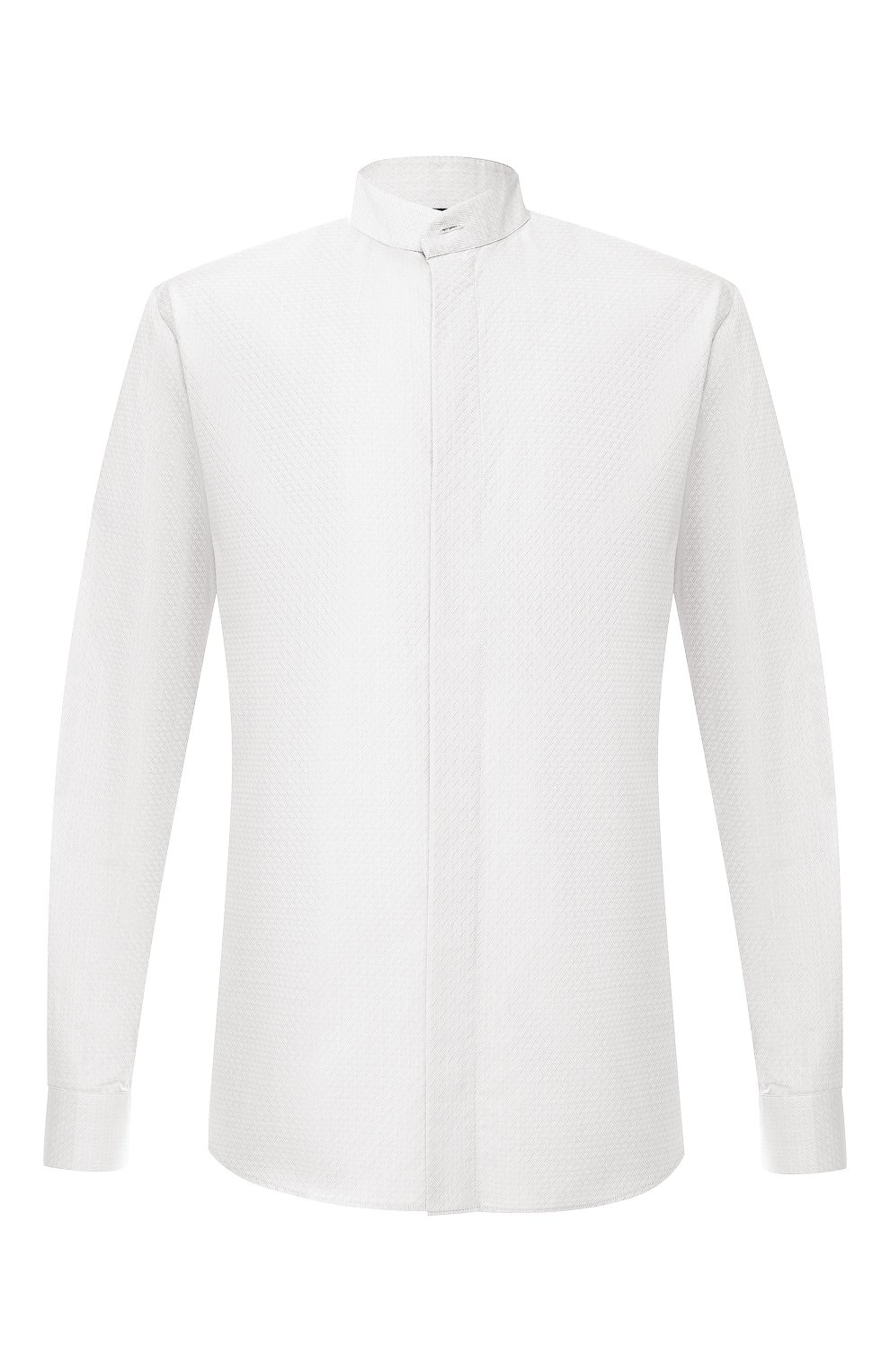 Мужская хлопковая рубашка с воротником мандарин GIORGIO ARMANI серого цвета, арт. 9SGCCZ10/TZ211 | Фото 1