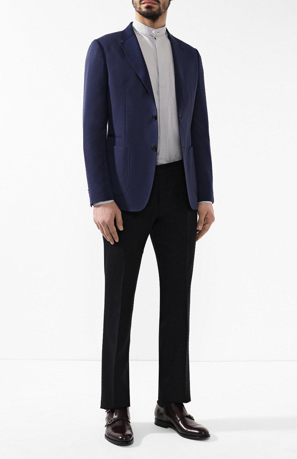 Мужская хлопковая рубашка с воротником мандарин GIORGIO ARMANI серого цвета, арт. 9SGCCZ10/TZ211 | Фото 2