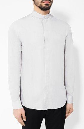Мужская хлопковая рубашка с воротником мандарин GIORGIO ARMANI серого цвета, арт. 9SGCCZ10/TZ211 | Фото 3