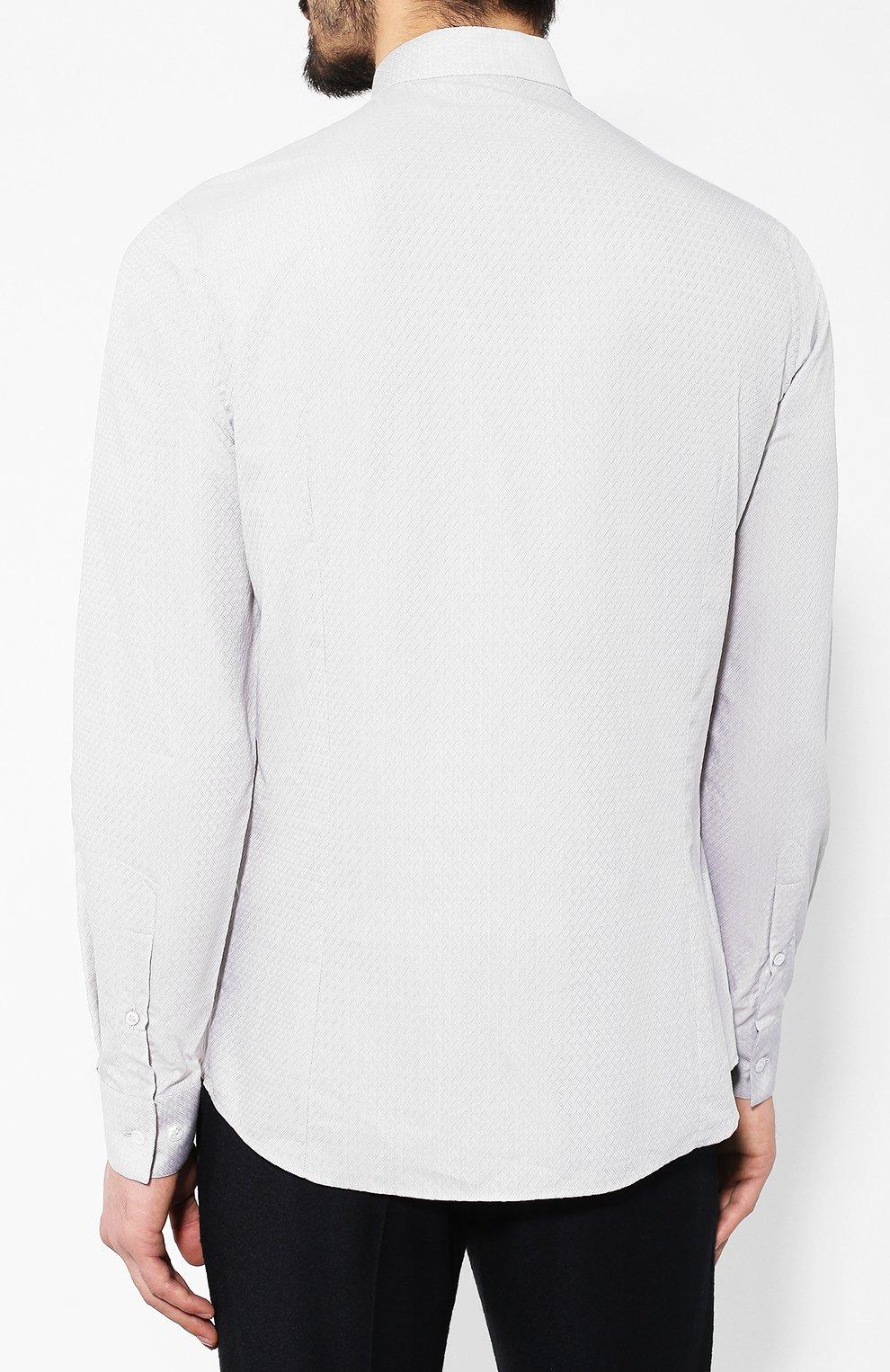 Мужская хлопковая рубашка с воротником мандарин GIORGIO ARMANI серого цвета, арт. 9SGCCZ10/TZ211 | Фото 4