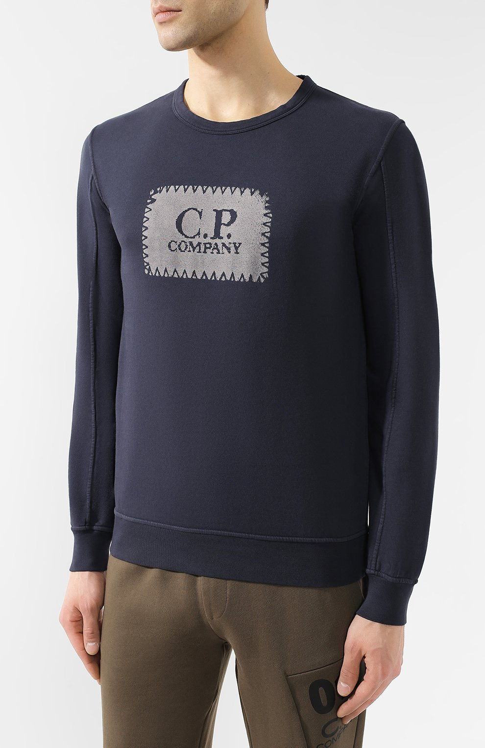 Хлопковый свитшот C.P. Company темно-синий   Фото №3