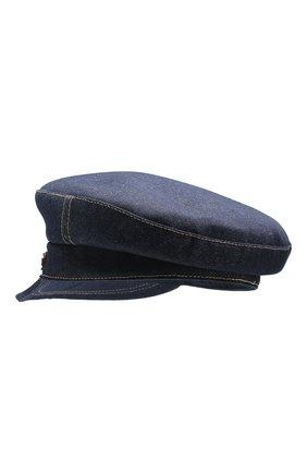 Джинсовая кепка с отделкой из кожи | Фото №2