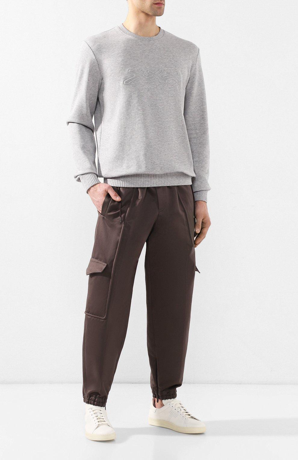 Брюки-карго из смеси хлопка и льна Zegna Couture коричневые | Фото №2