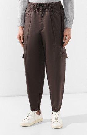 Брюки-карго из смеси хлопка и льна Zegna Couture коричневые | Фото №3