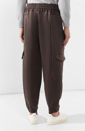 Брюки-карго из смеси хлопка и льна Zegna Couture коричневые | Фото №4