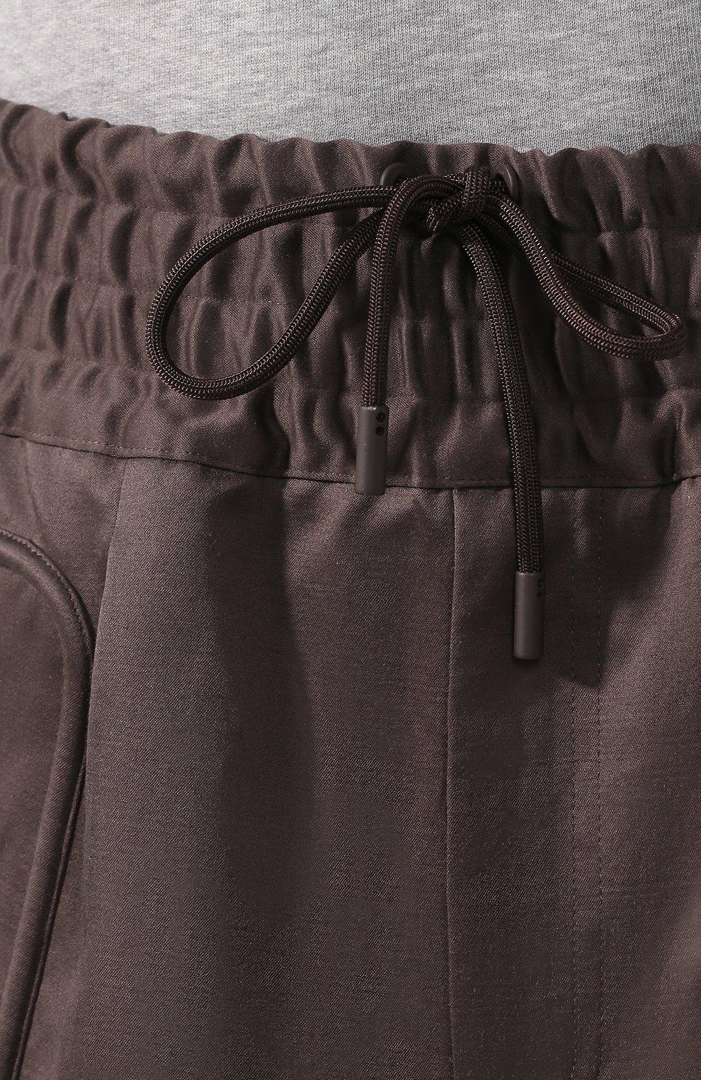 Брюки-карго из смеси хлопка и льна Zegna Couture коричневые | Фото №5