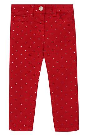 Детские джинсы со стразами MONNALISA красного цвета, арт. 393415A7 | Фото 1
