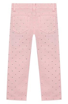 Детские джинсы со стразами MONNALISA розового цвета, арт. 393415A7 | Фото 2