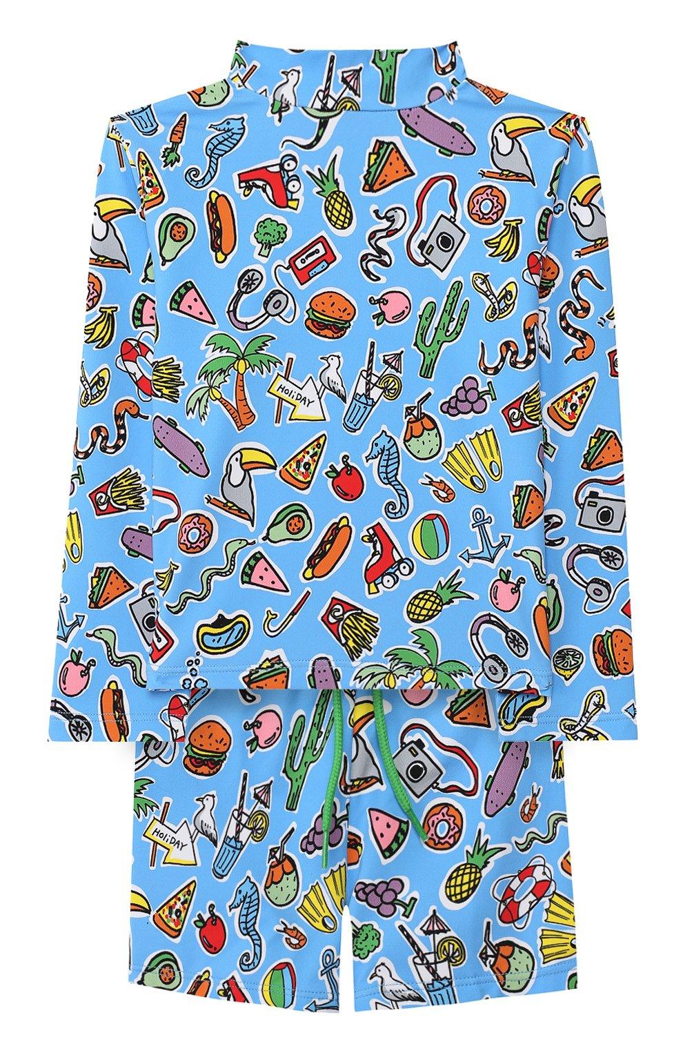 Детского комплект для плавания из лонгслива и шорт STELLA MCCARTNEY синего цвета, арт. 540089/SMK08 | Фото 1
