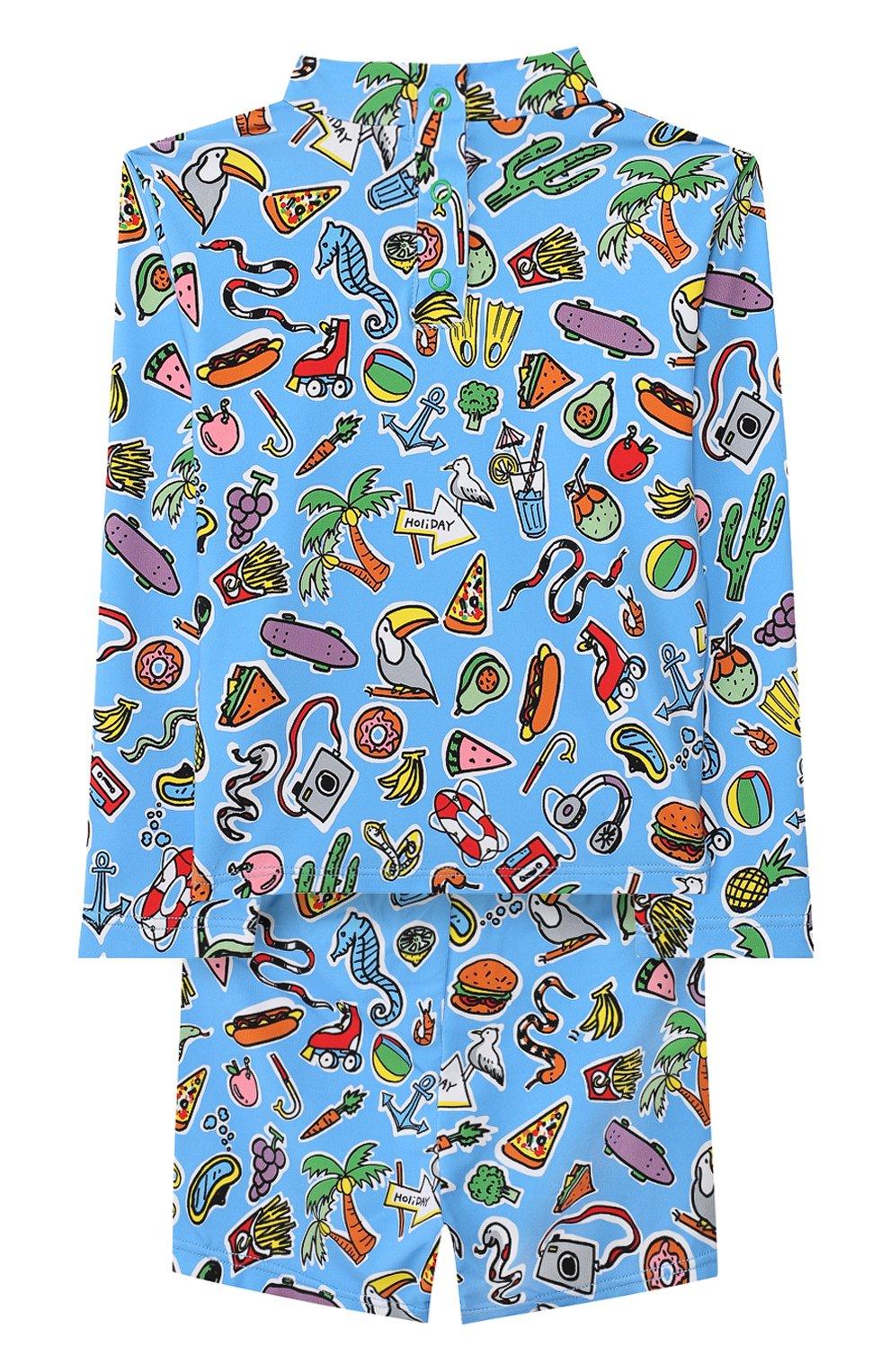 Детского комплект для плавания из лонгслива и шорт STELLA MCCARTNEY синего цвета, арт. 540089/SMK08 | Фото 2