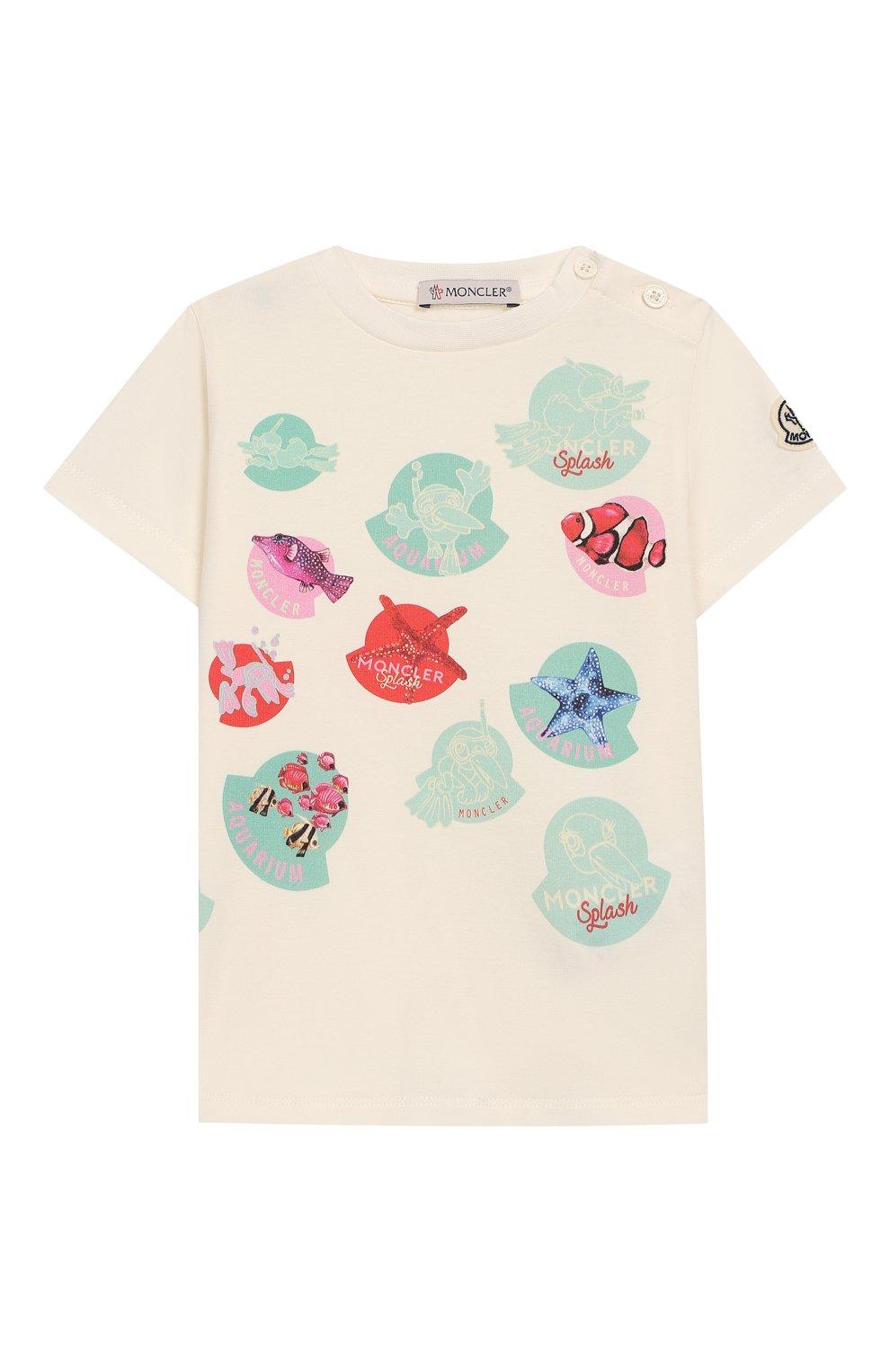 Детский хлопковая футболка MONCLER ENFANT белого цвета, арт. E1-951-80713-05-8790A | Фото 1