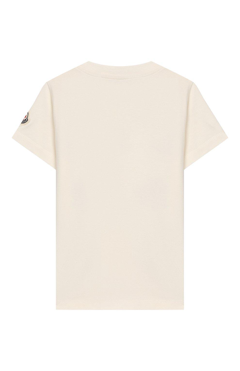 Детский хлопковая футболка MONCLER ENFANT белого цвета, арт. E1-951-80713-05-8790A | Фото 2