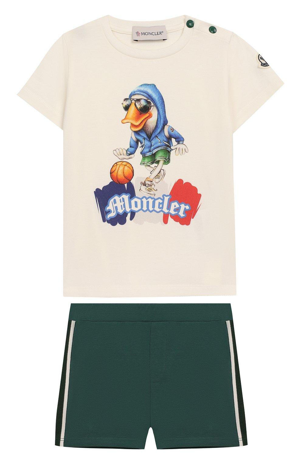 Детский комплект из хлопковой футболки и шорт MONCLER ENFANT белого цвета, арт. E1-951-88121-50-8790A | Фото 1