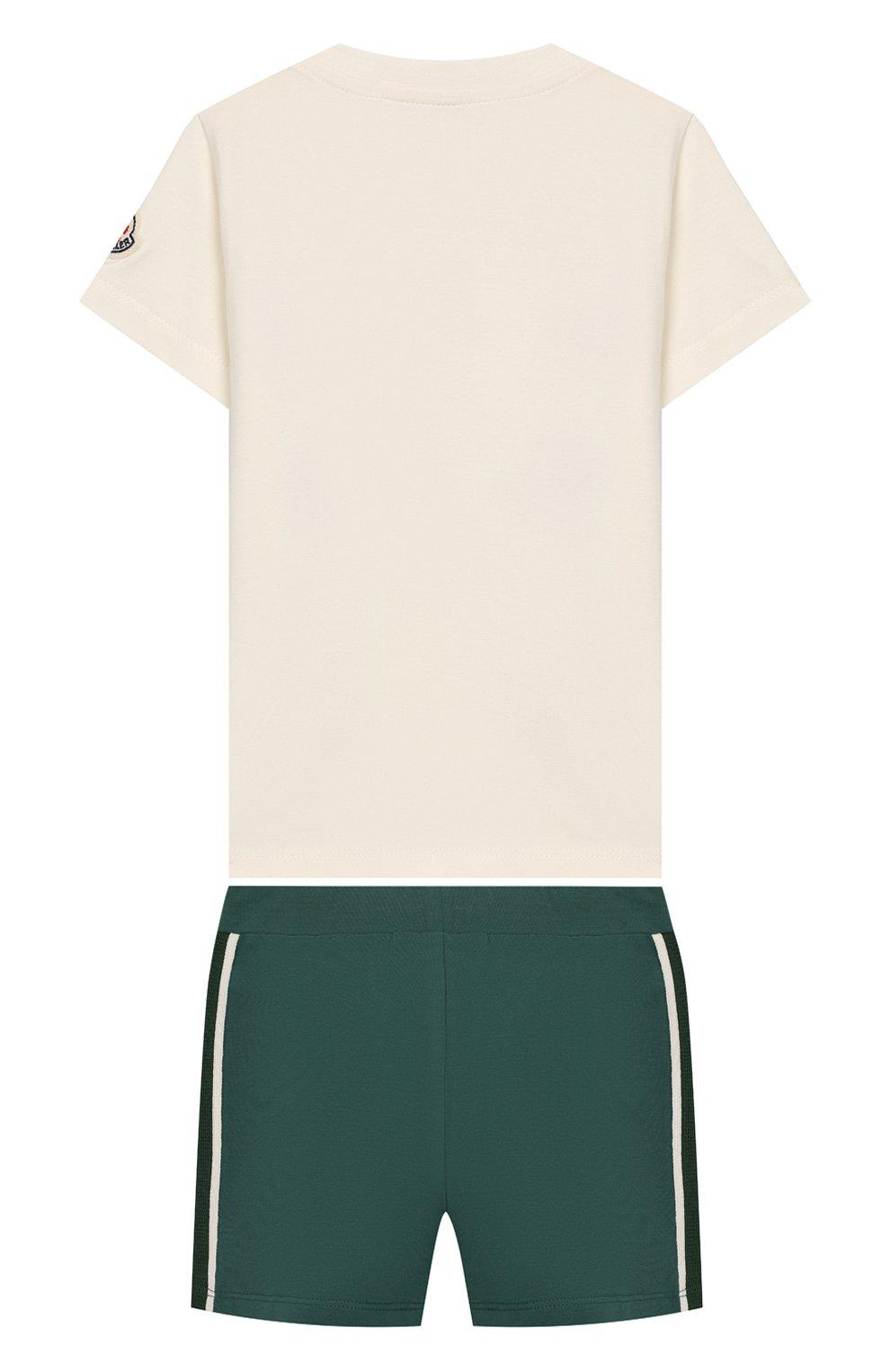 Детский комплект из хлопковой футболки и шорт MONCLER ENFANT белого цвета, арт. E1-951-88121-50-8790A | Фото 2