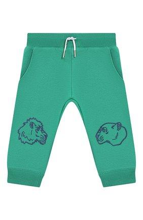 Детские хлопковые джоггеры KENZO зеленого цвета, арт. KN23557/6M-18M | Фото 1