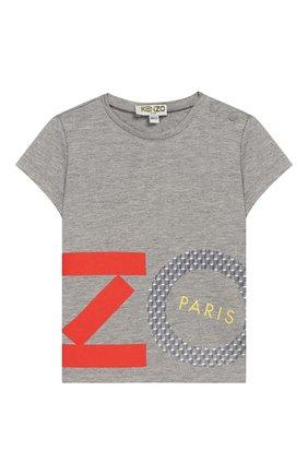 Детский футболка с принтом KENZO серого цвета, арт. KN10088-BB/6M-18M | Фото 1