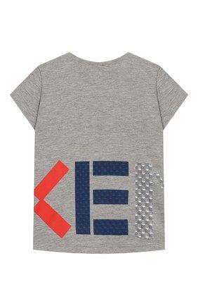 Детский футболка с принтом KENZO серого цвета, арт. KN10088-BB/6M-18M | Фото 2