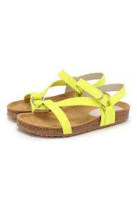Детские кожаные сандалии IL GUFO желтого цвета, арт. G568/NABUK FLU0/31-34 | Фото 1