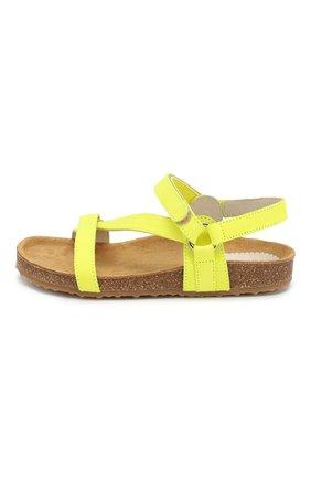 Детские кожаные сандалии IL GUFO желтого цвета, арт. G568/NABUK FLU0/31-34 | Фото 2
