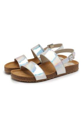 Детские кожаные сандалии IL GUFO серебряного цвета, арт. G566/SPECCHI0 DISC0/27-30 | Фото 1