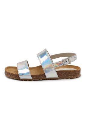 Детские кожаные сандалии IL GUFO серебряного цвета, арт. G566/SPECCHI0 DISC0/27-30 | Фото 2