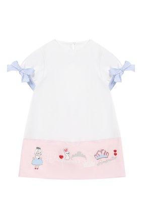 Детское мини-платье SIMONETTA белого цвета, арт. 1K1671/KB060/5-8 | Фото 1