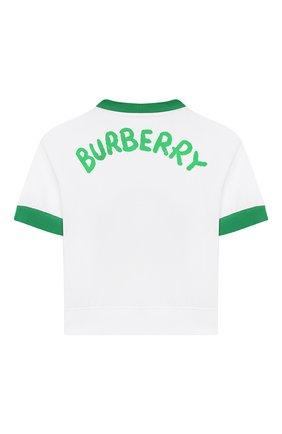 Детский хлопковая футболка BURBERRY белого цвета, арт. 8006968 | Фото 2