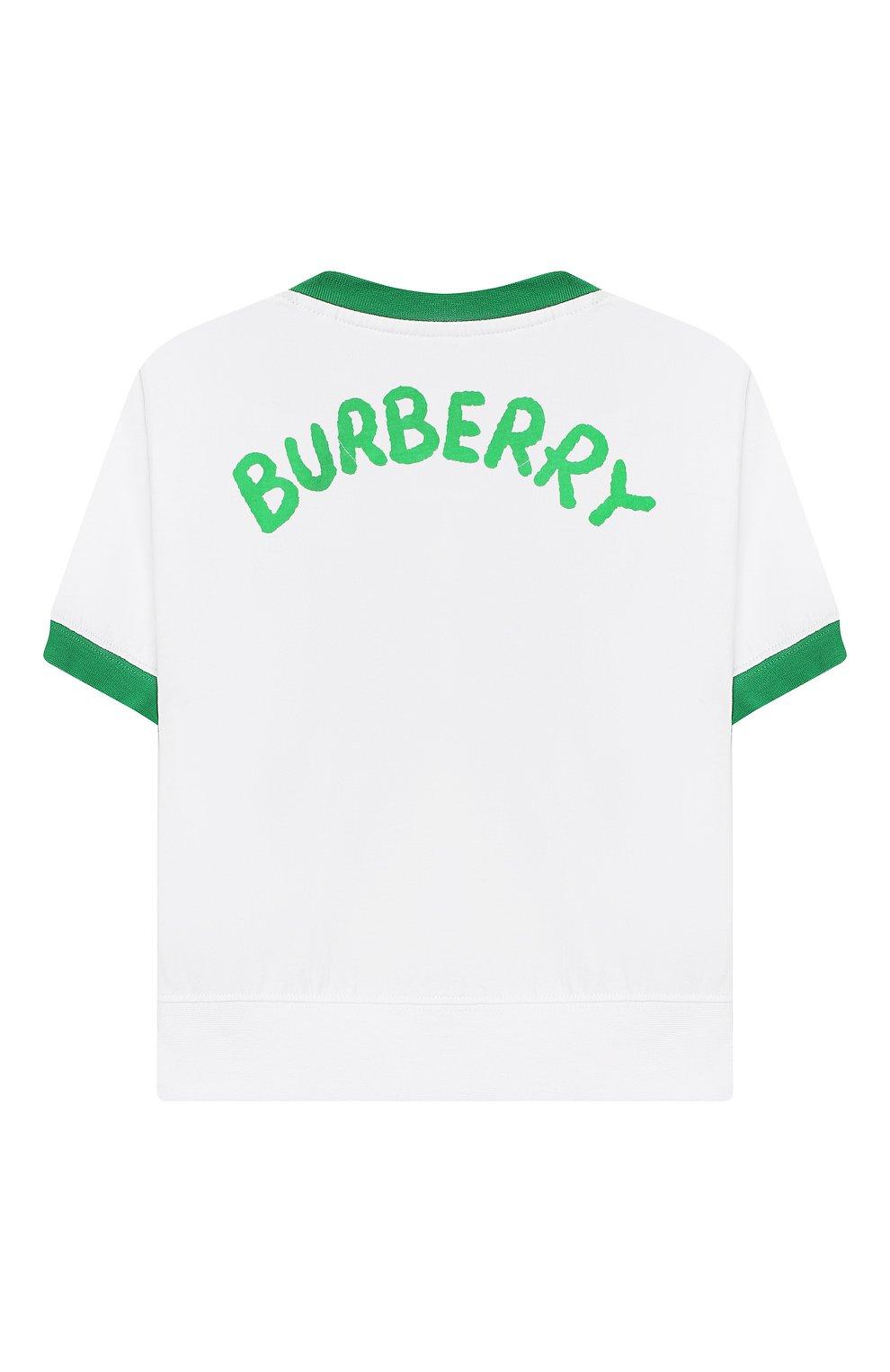 Детская хлопковая футболка BURBERRY белого цвета, арт. 8006969 | Фото 2