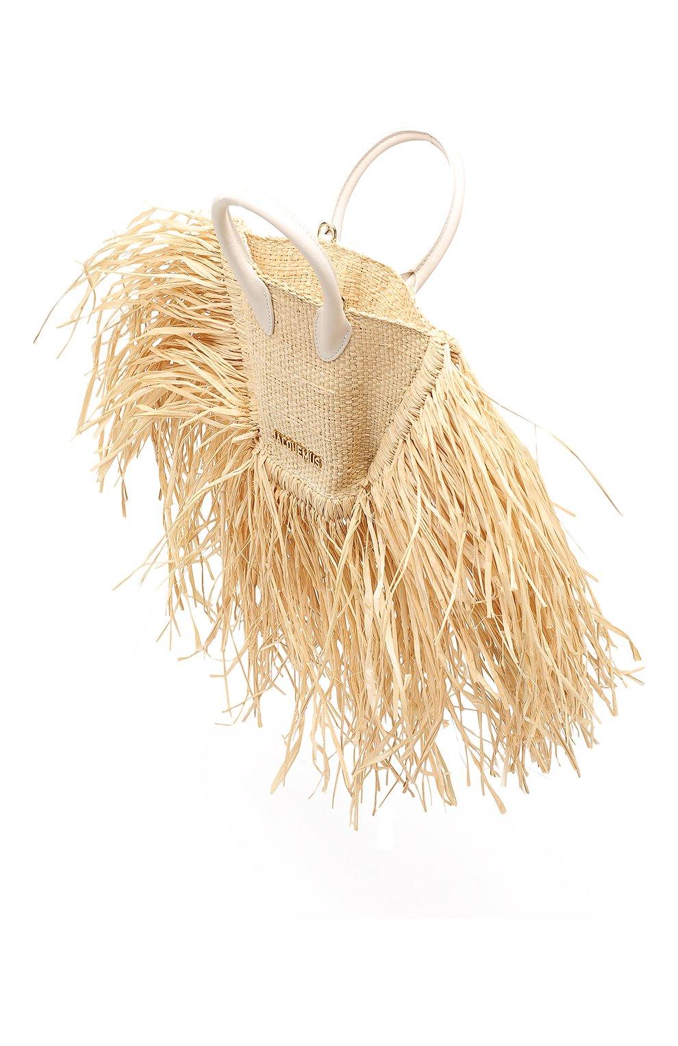 Женская сумка baci mini JACQUEMUS бежевого цвета, арт. 191BA08   Фото 4