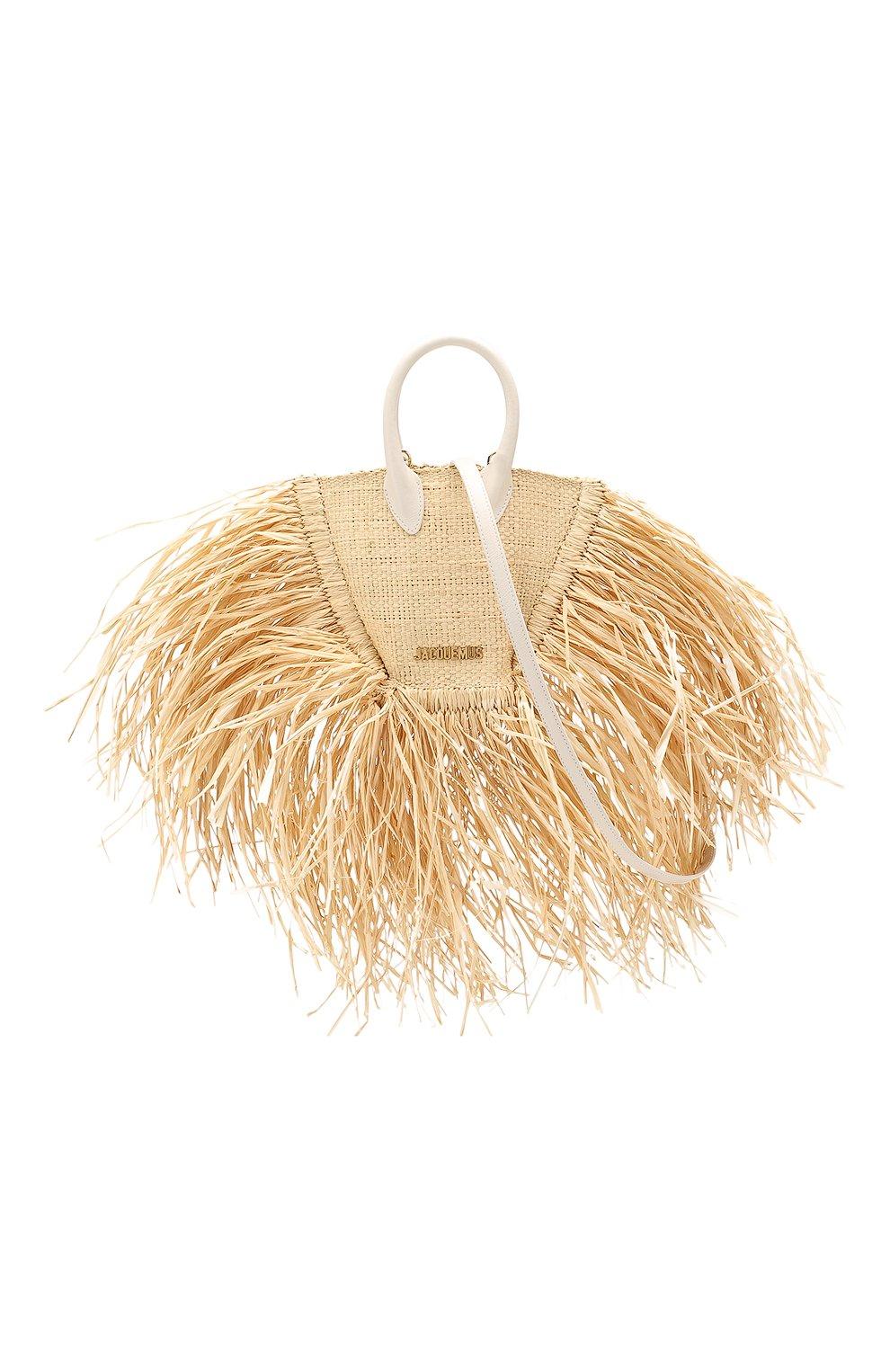 Женская сумка baci mini JACQUEMUS бежевого цвета, арт. 191BA08   Фото 6