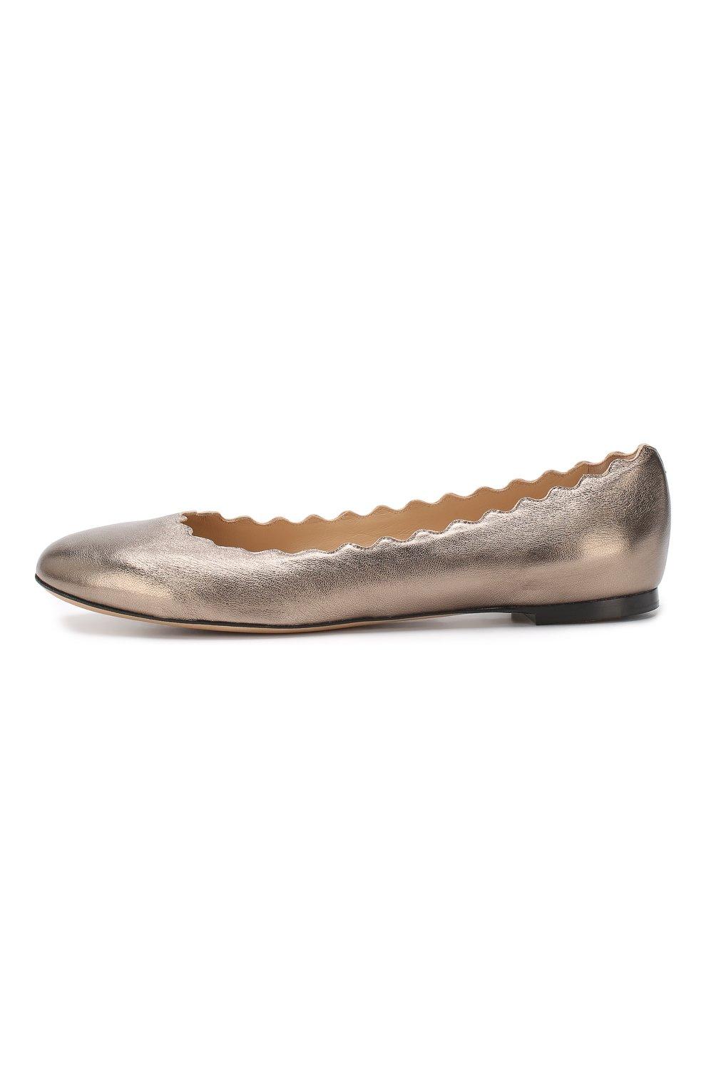 Балетки Lauren из металлизированной кожи  Chloé бронзовые | Фото №3