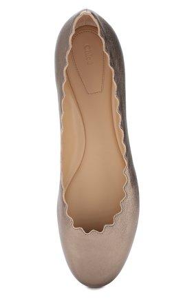 Балетки Lauren из металлизированной кожи  Chloé бронзовые | Фото №5