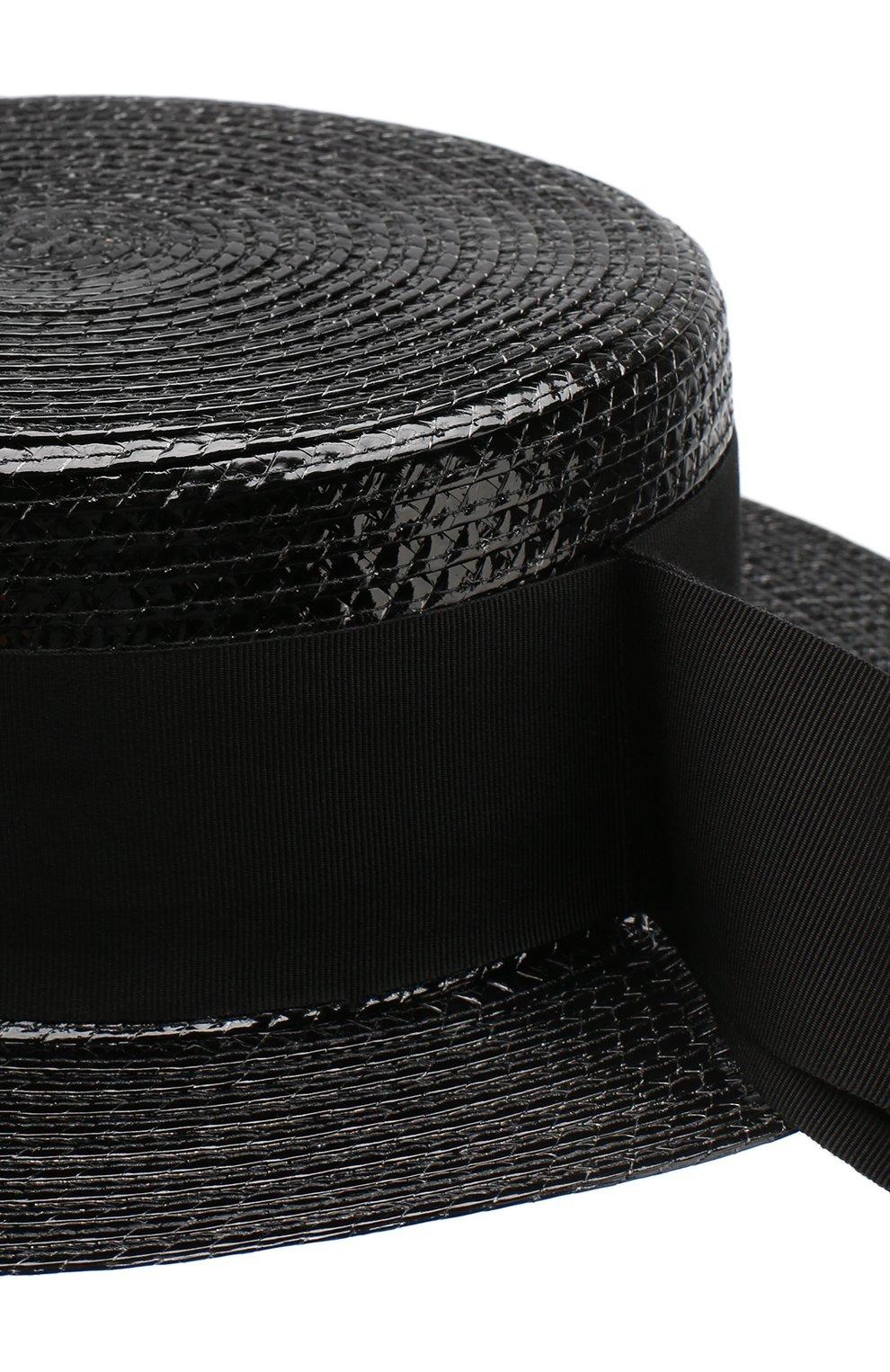 Шляпа канотье Saint Laurent черного цвета | Фото №3