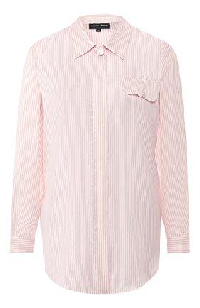 Женская шелковая рубашка GIORGIO ARMANI розового цвета, арт. 9SHCCZ10/TZ195 | Фото 1 (Материал внешний: Шелк; Рукава: Длинные; Женское Кросс-КТ: Рубашка-одежда; Принт: Полоска, С принтом; Длина (для топов): Удлиненные; Статус проверки: Проверена категория)