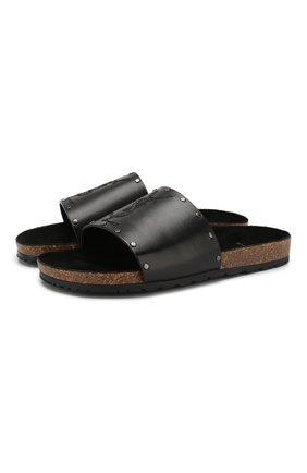 Мужские кожаные шлепанцы SAINT LAURENT черного цвета, арт. 555492/DWEYY | Фото 1