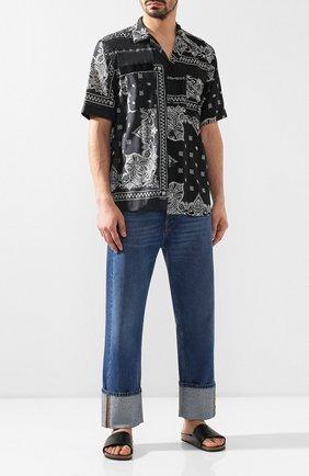Мужские кожаные шлепанцы SAINT LAURENT черного цвета, арт. 555492/DWEYY | Фото 2
