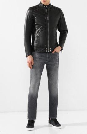 Кожаная куртка Diesel черная | Фото №2