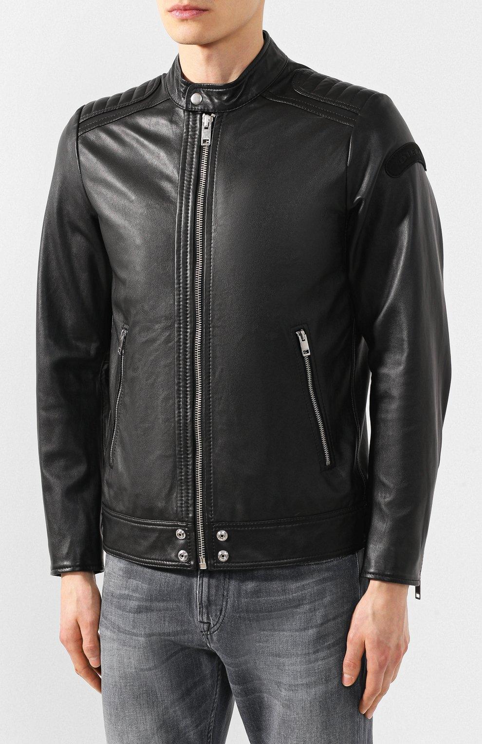 Кожаная куртка Diesel черная | Фото №3