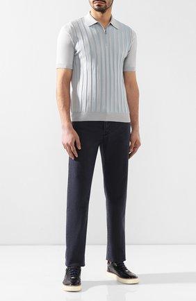 Мужское поло из смеси шелка и хлопка ZILLI светло-серого цвета, арт. MBR-PZ122-VEDE1/MC01 | Фото 2