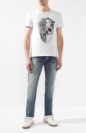 Мужские кожаные кеды SAINT LAURENT белого цвета, арт. 557624/04L10 | Фото 2