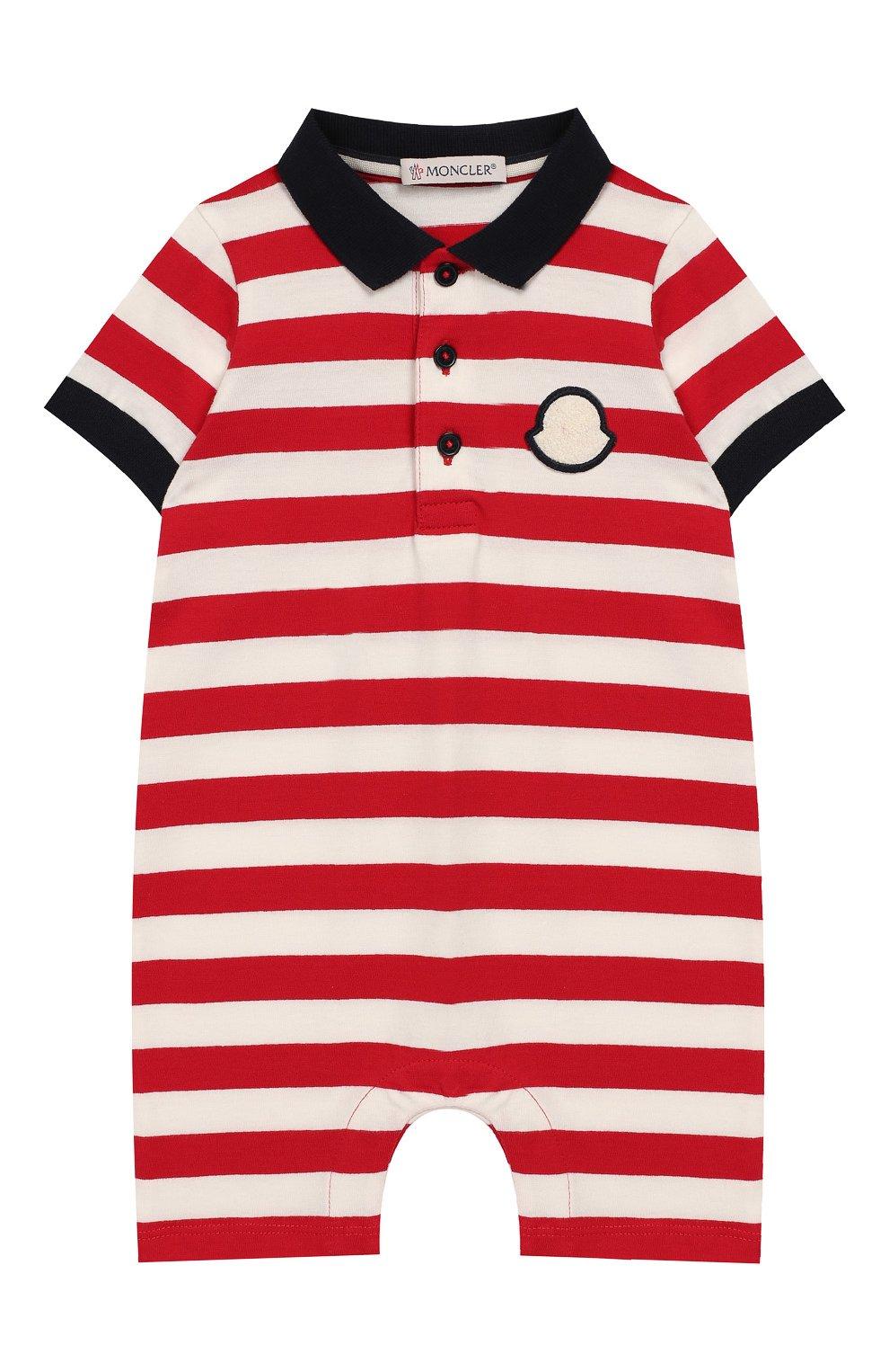 Детское хлопковый комбинезон MONCLER ENFANT красного цвета, арт. E1-951-85074-05-8391L | Фото 1
