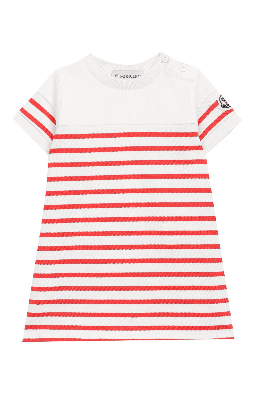 Женский хлопковое платье MONCLER ENFANT кораллового цвета, арт. E1-951-85740-05-V8026 | Фото 1