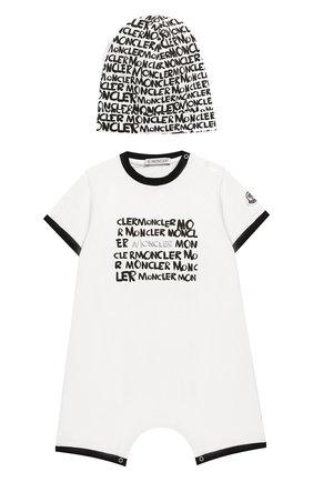 Детский комплект из хлопкового комбинезона и шапки MONCLER ENFANT белого цвета, арт. E1-951-88134-06-8790A | Фото 1