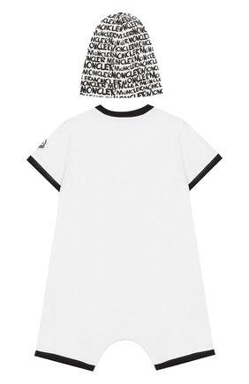 Детский комплект из хлопкового комбинезона и шапки MONCLER ENFANT белого цвета, арт. E1-951-88134-06-8790A | Фото 2