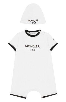 Детское комплект из хлопкового комбинезона и шапки MONCLER ENFANT белого цвета, арт. E1-951-88137-06-8790A | Фото 1