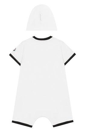 Детское комплект из хлопкового комбинезона и шапки MONCLER ENFANT белого цвета, арт. E1-951-88137-06-8790A | Фото 2